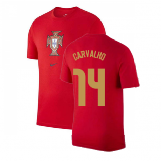 2020-2021 Portugal Nike Evergreen Crest Tee (Red) (CARVALHO 14)