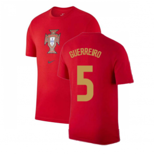 2020-2021 Portugal Nike Evergreen Crest Tee (Red) (GUERREIRO 5)