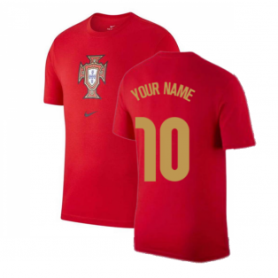 2020-2021 Portugal Nike Evergreen Crest Tee (Red) - Kids (Your Name)