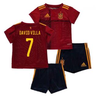 2020-2021 Spain Home Adidas Baby Kit (DAVID VILLA 7)