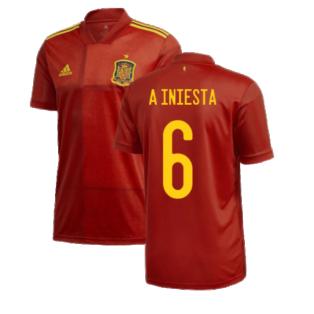 2020-2021 Spain Home Adidas Football Shirt (A INIESTA 6)