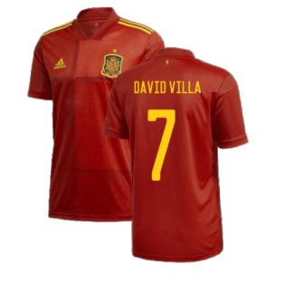2020-2021 Spain Home Adidas Football Shirt (DAVID VILLA 7)
