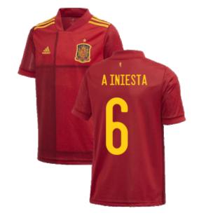 2020-2021 Spain Home Adidas Football Shirt (Kids) (A INIESTA 6)