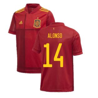 2020-2021 Spain Home Adidas Football Shirt (Kids) (ALONSO 14)