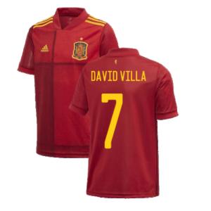2020-2021 Spain Home Adidas Football Shirt (Kids) (DAVID VILLA 7)