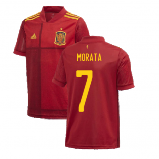 2020-2021 Spain Home Adidas Football Shirt (Kids) (MORATA 7)