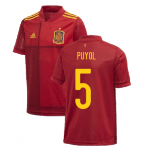 2020-2021 Spain Home Adidas Football Shirt (Kids) (PUYOL 5)