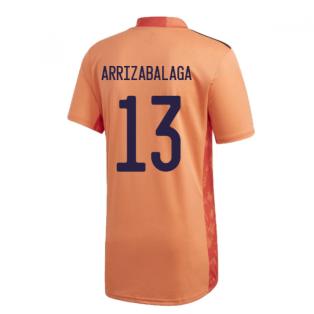 2020-2021 Spain Home Adidas Goalkeeper Shirt (Orange) (Arrizabalaga 13)