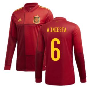 2020-2021 Spain Home Adidas Long Sleeve Shirt (A INIESTA 6)