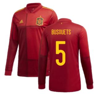 2020-2021 Spain Home Adidas Long Sleeve Shirt (BUSQUETS 5)