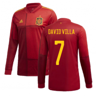 2020-2021 Spain Home Adidas Long Sleeve Shirt (DAVID VILLA 7)