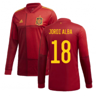 2020-2021 Spain Home Adidas Long Sleeve Shirt (JORDI ALBA 18)
