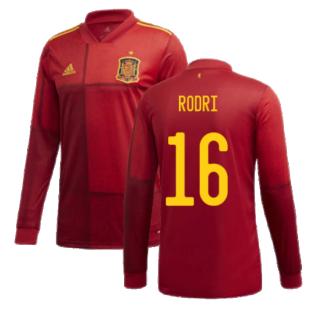 2020-2021 Spain Home Adidas Long Sleeve Shirt (RODRI 16)