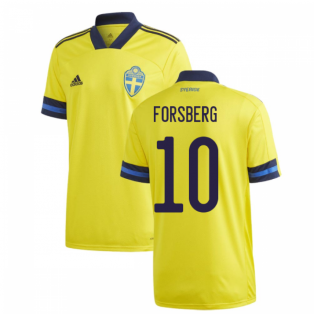 2020-2021 Sweden Home Adidas Football Shirt (FORSBERG 10)