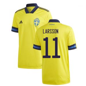 2020-2021 Sweden Home Adidas Football Shirt (LARSSON 11)