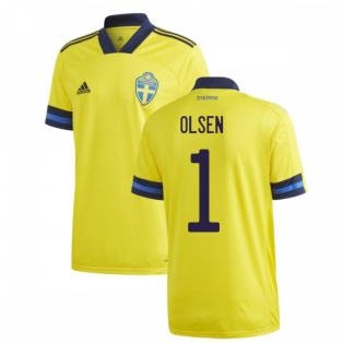 2020-2021 Sweden Home Adidas Football Shirt (OLSEN 1)