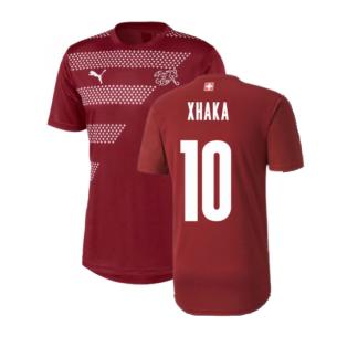 2020-2021 Switzerland Stadium Jersey (Pomegranate) (XHAKA 10)