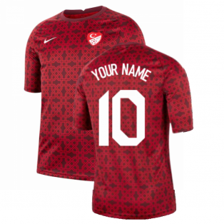 2020-2021 Turkey Nike Pre-Match Training Shirt (Red) (Your Name)