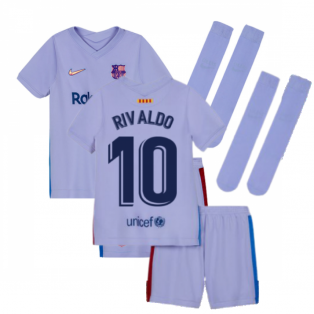 2021-2022 Barcelona Away Mini Kit (Kids) (RIVALDO 10)