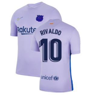2021-2022 Barcelona Away Shirt (Kids) (RIVALDO 10)