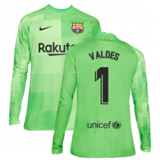2021-2022 Barcelona Goalkeeper Shirt (Green) (VALDES 1)