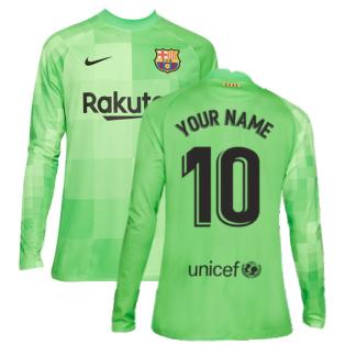 2021-2022 Barcelona Goalkeeper Shirt (Green) (Your Name)