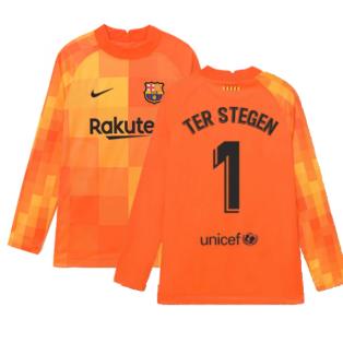 2021-2022 Barcelona Home Goalkeeper Shirt (Orange) - Kids (TER STEGEN 1)