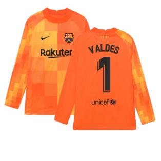 2021-2022 Barcelona Home Goalkeeper Shirt (Orange) (VALDES 1)