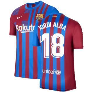 2021-2022 Barcelona Home Shirt (JORDI ALBA 18)