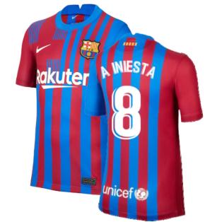 2021-2022 Barcelona Home Shirt (Kids) (A INIESTA 8)
