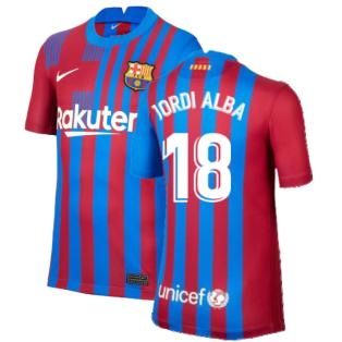 2021-2022 Barcelona Home Shirt (Kids) (JORDI ALBA 18)