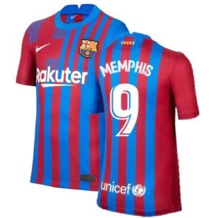 2021-2022 Barcelona Home Shirt (Kids) (MEMPHIS 9)
