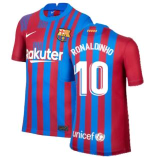 2021-2022 Barcelona Home Shirt (Kids) (RONALDINHO 10)