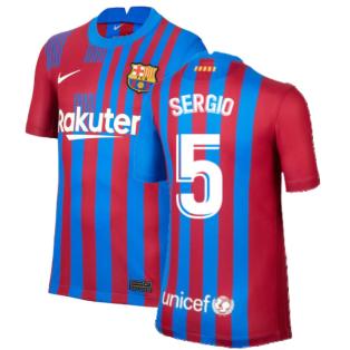 2021-2022 Barcelona Home Shirt (Kids) (SERGIO 5)
