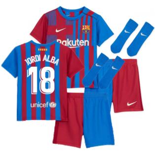 2021-2022 Barcelona Infants Home Kit (JORDI ALBA 18)