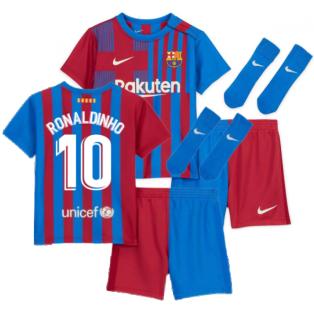 2021-2022 Barcelona Infants Home Kit (RONALDINHO 10)