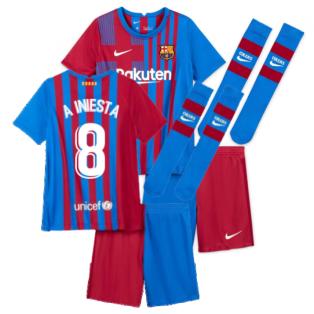 2021-2022 Barcelona Little Boys Home Kit (A INIESTA 8)