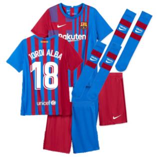2021-2022 Barcelona Little Boys Home Kit (JORDI ALBA 18)