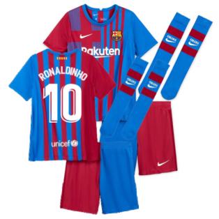 2021-2022 Barcelona Little Boys Home Kit (RONALDINHO 10)