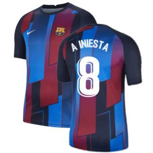 2021-2022 Barcelona Pre-Match Training Shirt (Blue) (A INIESTA 8)