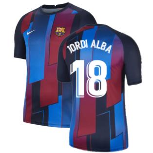 2021-2022 Barcelona Pre-Match Training Shirt (Blue) (JORDI ALBA 18)