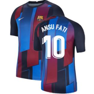 2021-2022 Barcelona Pre-Match Training Shirt (Blue) - Kids (ANSU FATI 10)