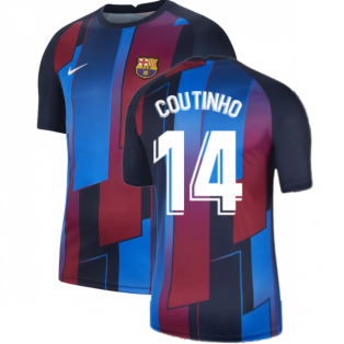 2021-2022 Barcelona Pre-Match Training Shirt (Blue) - Kids (COUTINHO 14)