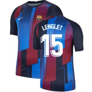 2021-2022 Barcelona Pre-Match Training Shirt (Blue) - Kids (LENGLET 15)