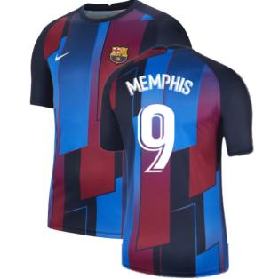 2021-2022 Barcelona Pre-Match Training Shirt (Blue) - Kids (MEMPHIS 9)