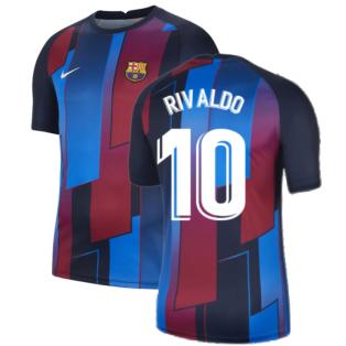 2021-2022 Barcelona Pre-Match Training Shirt (Blue) (RIVALDO 10)