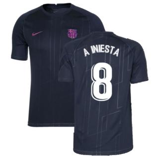 2021-2022 Barcelona Pre-Match Training Shirt (Obsidian) - Kids (A INIESTA 8)
