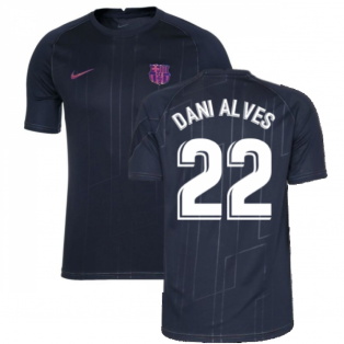 2021-2022 Barcelona Pre-Match Training Shirt (Obsidian) - Kids (DANI ALVES 22)