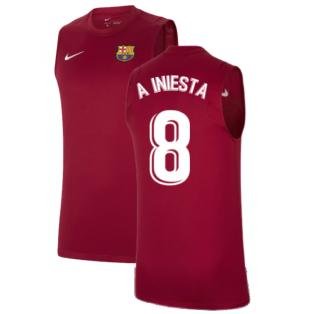 2021-2022 Barcelona Sleeveless Top (Red) (A INIESTA 8)