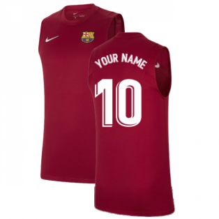 2021-2022 Barcelona Sleeveless Top (Red) (Your Name)
